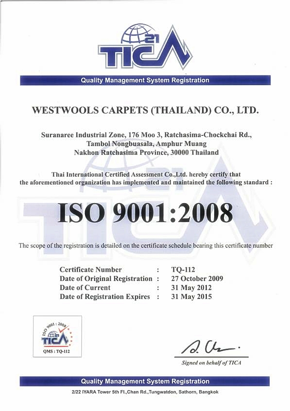 Faq Is Westwools Carpets Thailand An Iso 9001 2008